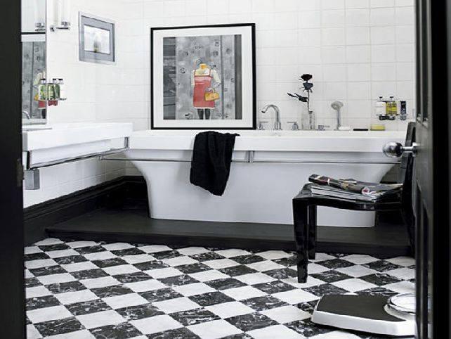 White Bathroom Flooring Art Deco