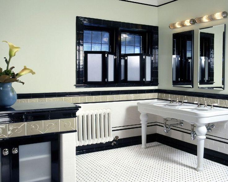 Black White Art Deco Style Bathroom Design