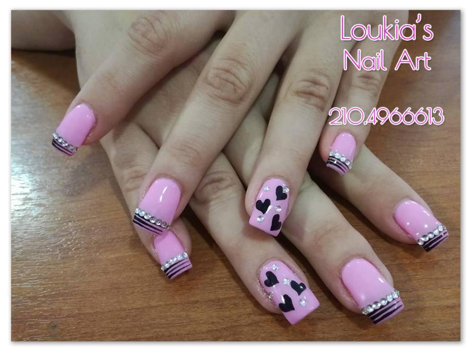French Manicure with Pink & Black, Glitter & love - Blurmark
