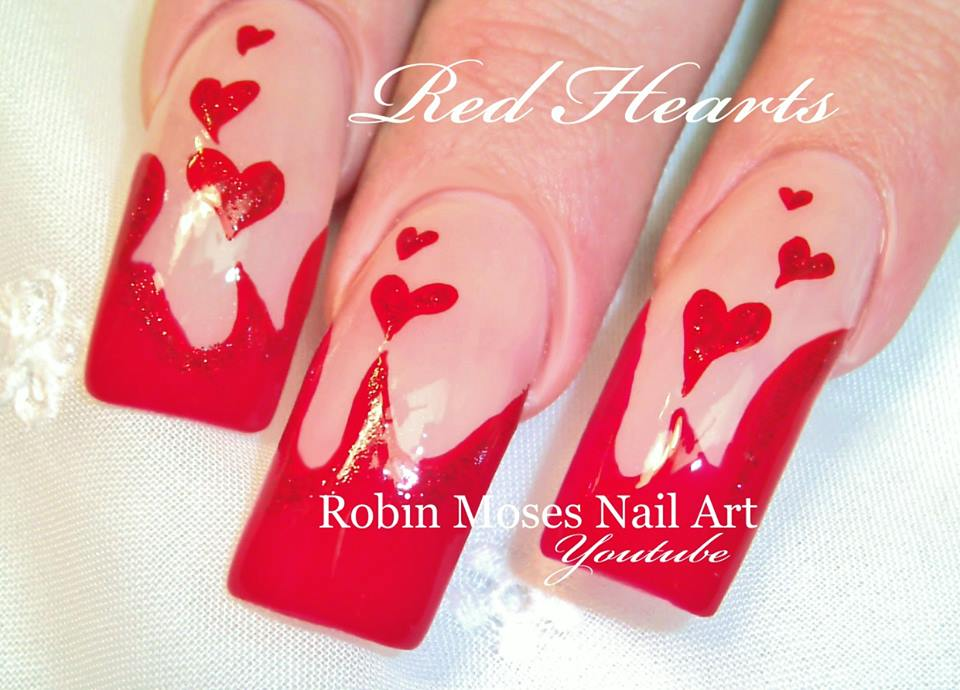 Long Red Nails with Hearts of Lava - Blurmark