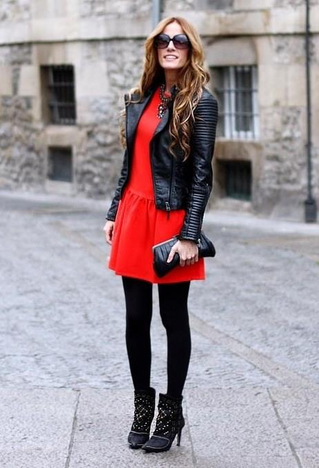 Red Dress With Black Leather Jacket And High Heels Blurmark