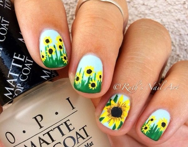 Get ready for spring party with sunflower nail art that will ultimately  beautify your hands and match the atmosphere of space. Here are 88 amazing  sunflower ... - 88 Amazing Sunflower Nail Art Design For This Summer 2017 - Blurmark