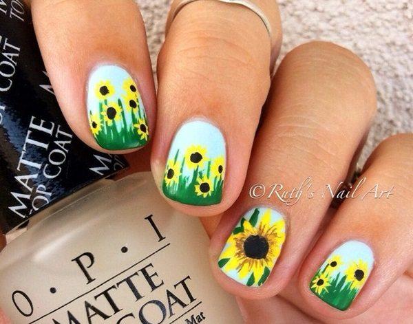 - 88 Amazing Sunflower Nail Art Design For This Summer 2017 - Blurmark