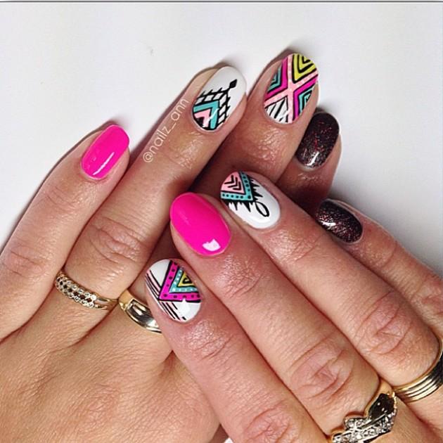 84 cute  u0026 colorful tribal nail art designs for summer 2017