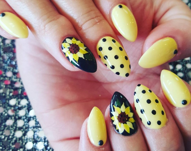 Yellow Color Summer Nail Art Blurmark