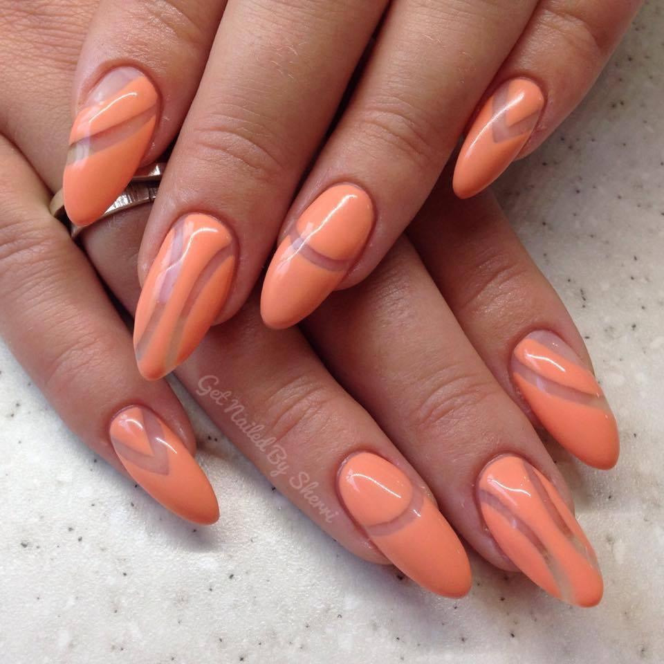 Apricot Negative Space Nail Art Design - Blurmark