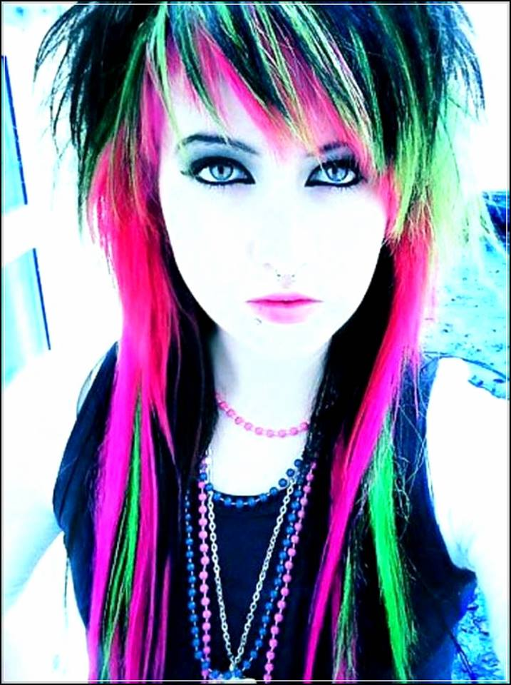 Black Hair With Neon Highlights Hairstyle Blurmark