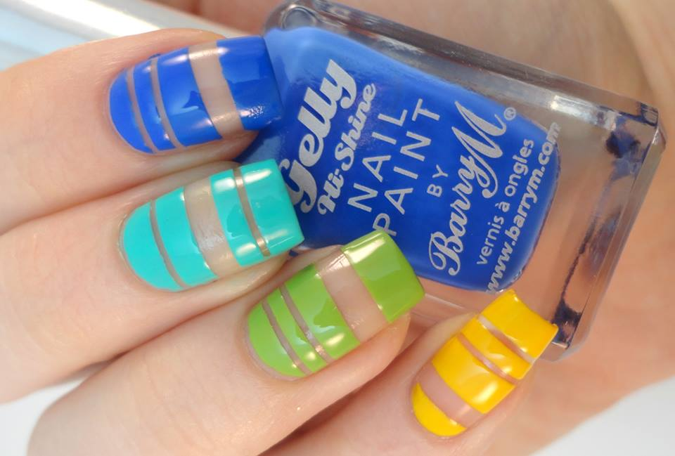 Rainbow Negative Space Nail Art Design