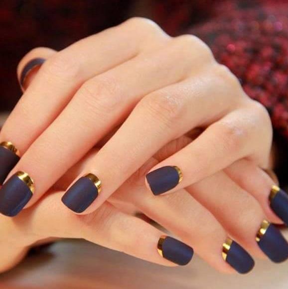 Black Golden Metallic Nail Art Design Blurmark