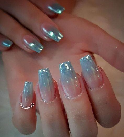How to make a gradient manicure with a sponge, foil or immediately on the nails 59