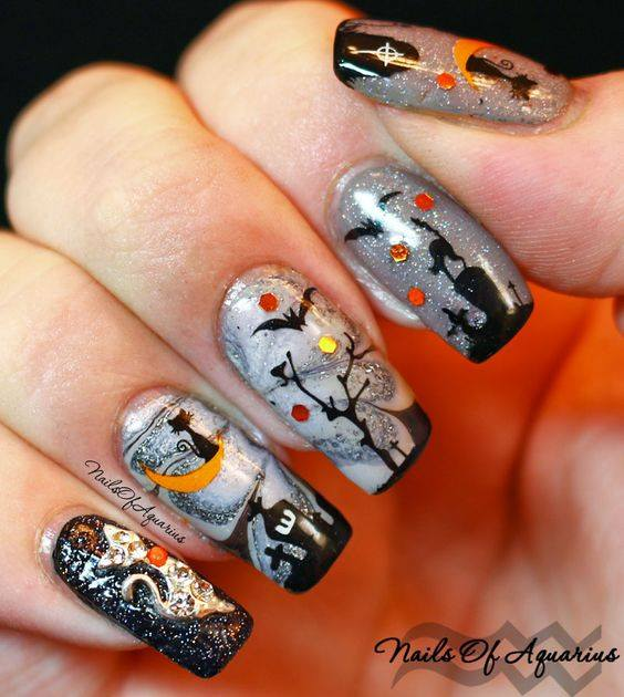 Cat On Moon Halloween Nails