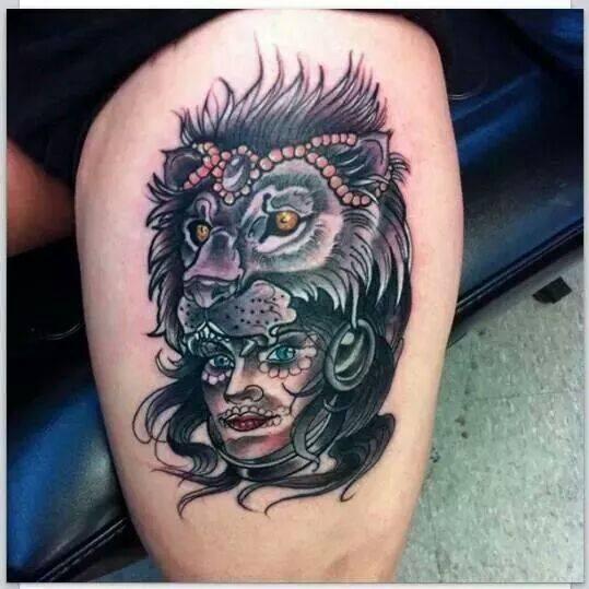 9ec2d98b010bc Creative Lion Tattoo On Thigh - Blurmark