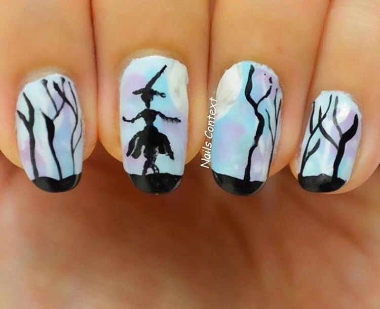 Dacing Witch Halloween Nails