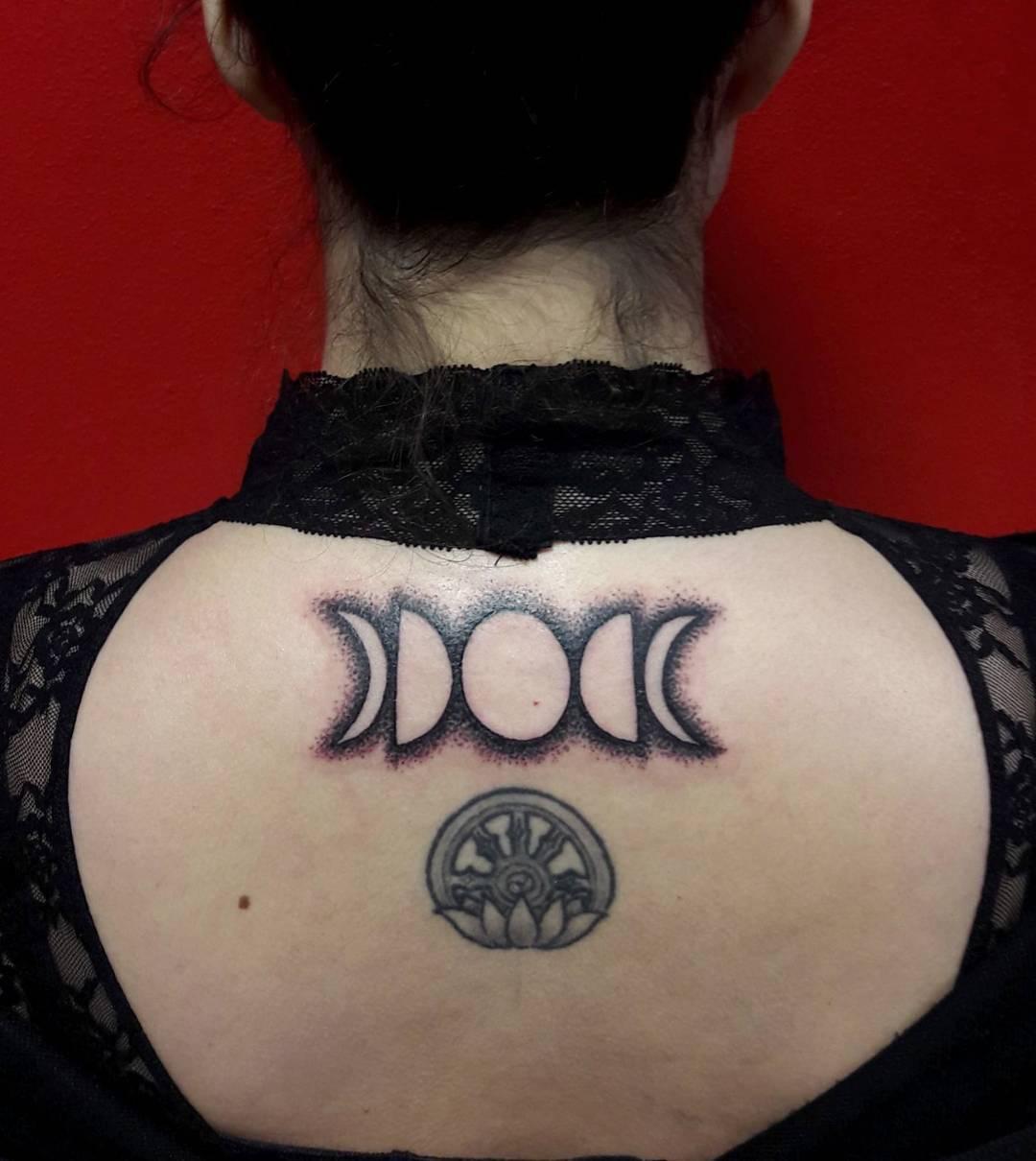 Dot Work Moon Tattoo On Neck
