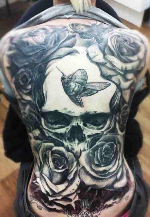 Full Back skull Tattoo Design