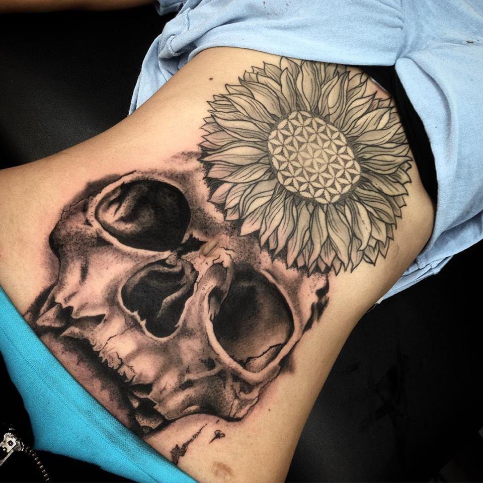 Geometric Skull Tattoo On Stomach