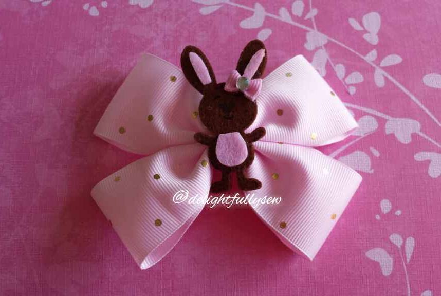 Golden Polka Dot Pink Bow With Bunny