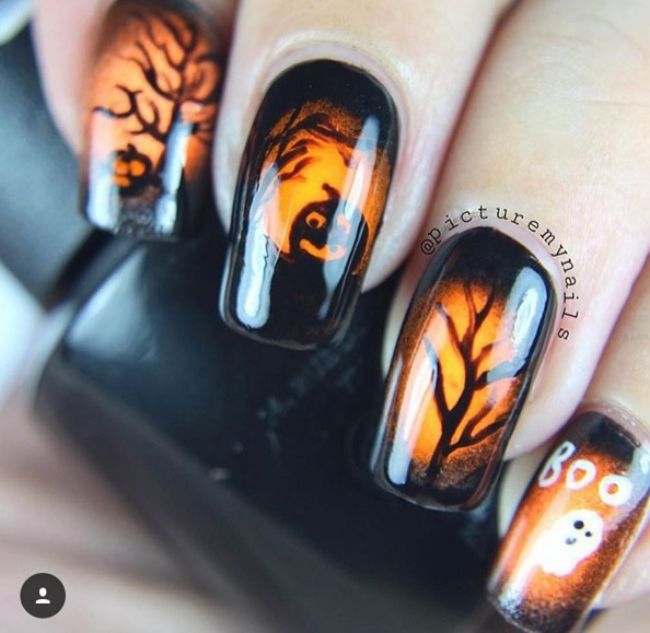 Gorgeous Halloween Nail Art