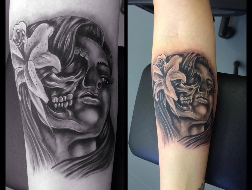 Half Women Half Skull Tattoo Blurmark