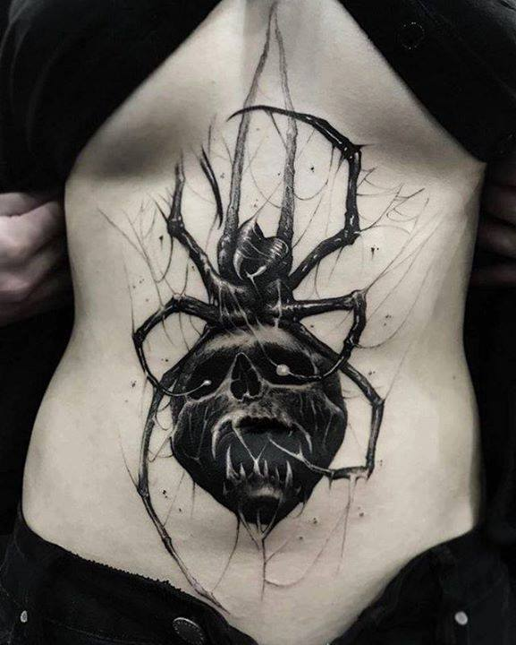 Incredible Skull Stomach Tattoo