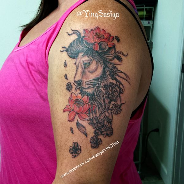Lion With Flowers on Arm