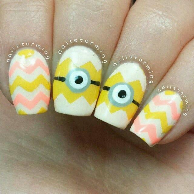 Minions Easter Nail Art