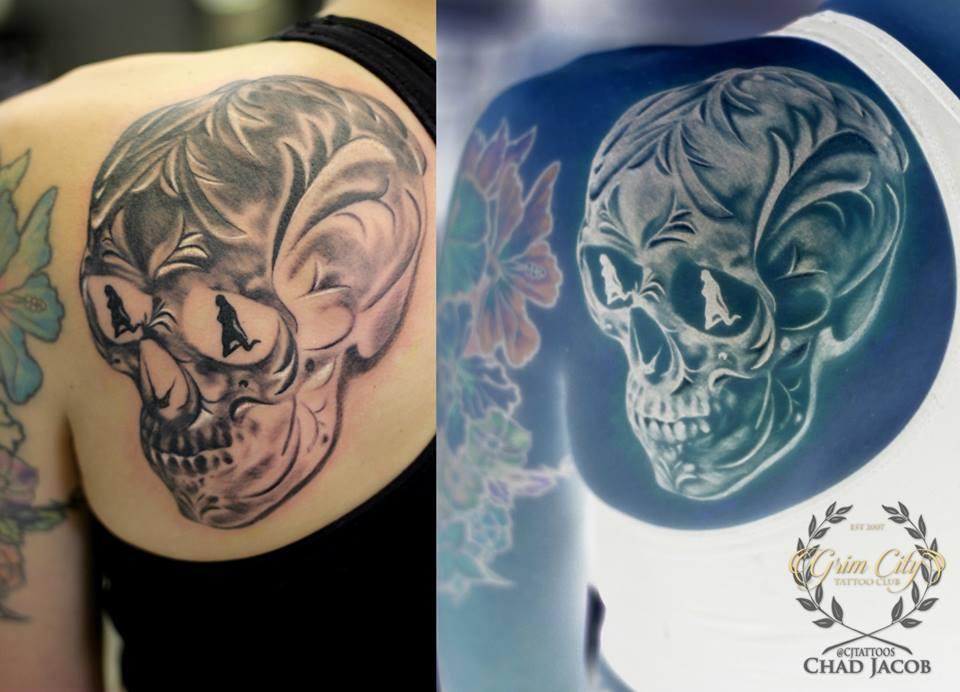 Ornate Skull Tattoo On Back Shoulder