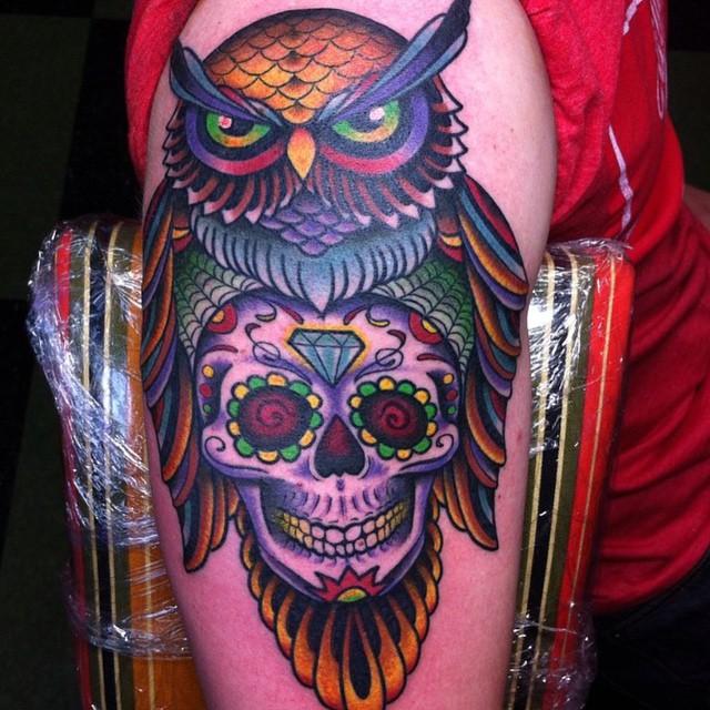 Owl Into Skull Tattoo Design Blurmark