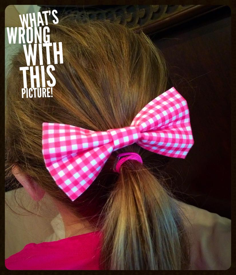 Pink & White Bow