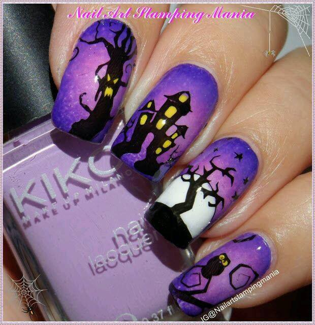 Purple Haunted Haouse Nail Design