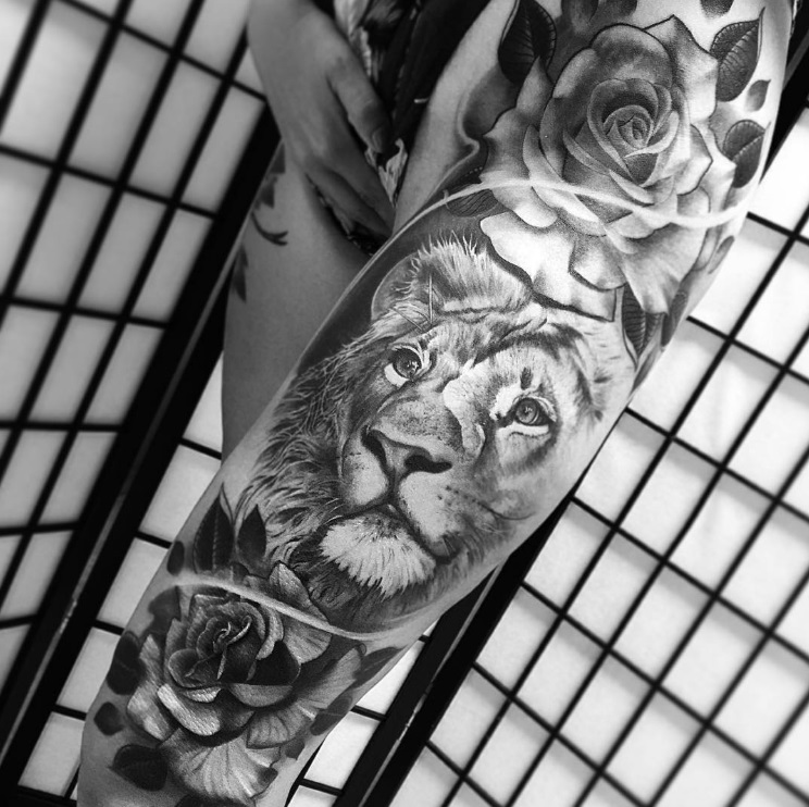 56 lion tattoos ideas to show strength and bravery for Black and white lion tattoo