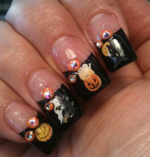 Rhinestones Hallowen Nail Art