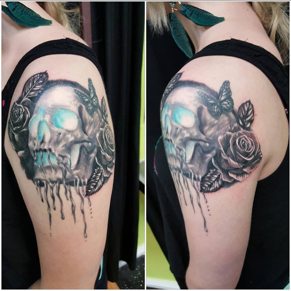 Rose with Skull Tattoo On Shoulder