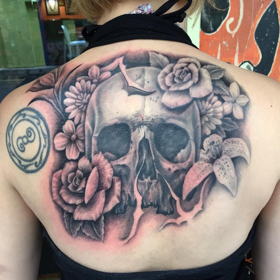 Skull And Flower On Half Upper Back