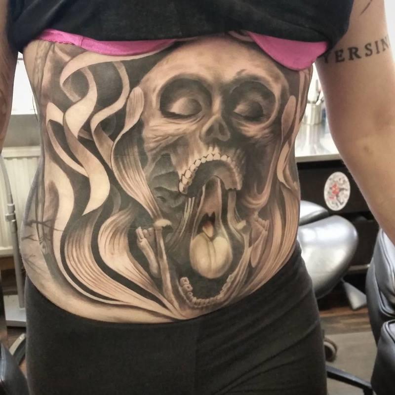 Skull Belly Tattoo