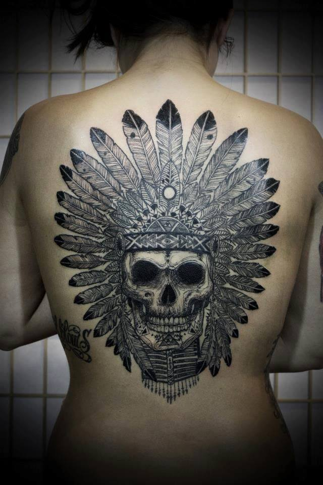 Skull Headpiece Back Tattoo