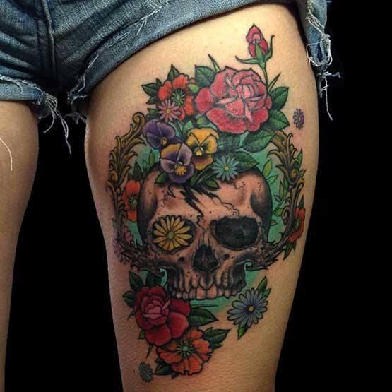 Skull Tattoo On Thaig