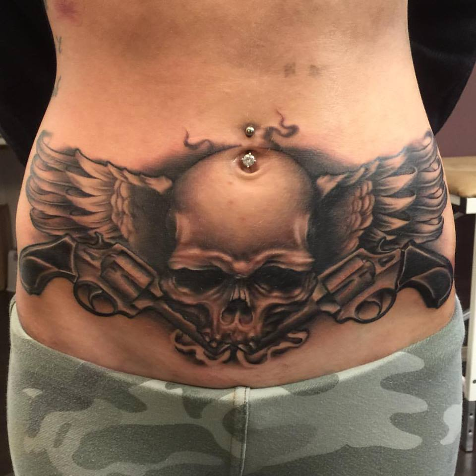 Skull With Wings On Stomach