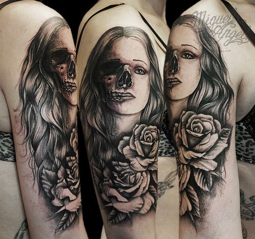 Skull Women Ans Rose Tattoo Design