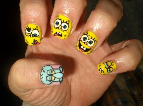Try 50 stunning yellow nail designs and get ready for beach party spongebob yellow nail art prinsesfo Image collections