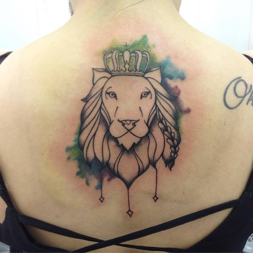c1e76c242d16c Water Color Lion Tattoo With Crown - Blurmark