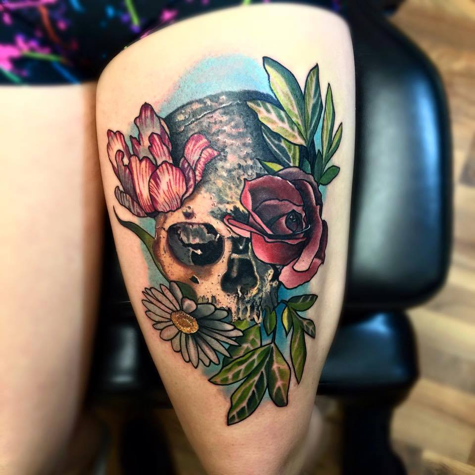 Water Color Skull with Flower Tattoo On Thigh
