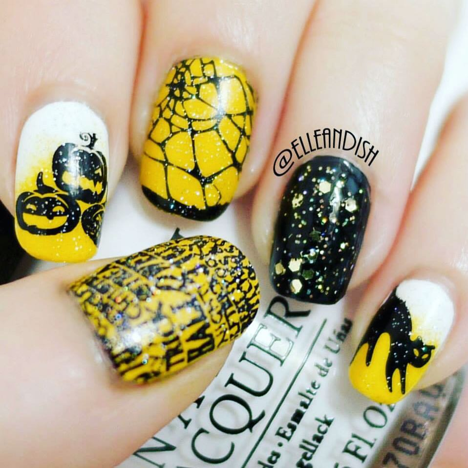 Yellow Halloween Nail Art