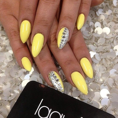 ... Yellow With Silver / Yellow Nail Designs ... - Try 50 Stunning Yellow Nail Designs And Get Ready For Beach Party