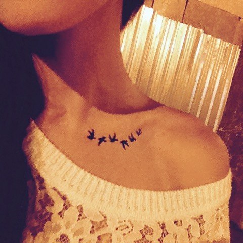 Bird Tattoo Collar Bone