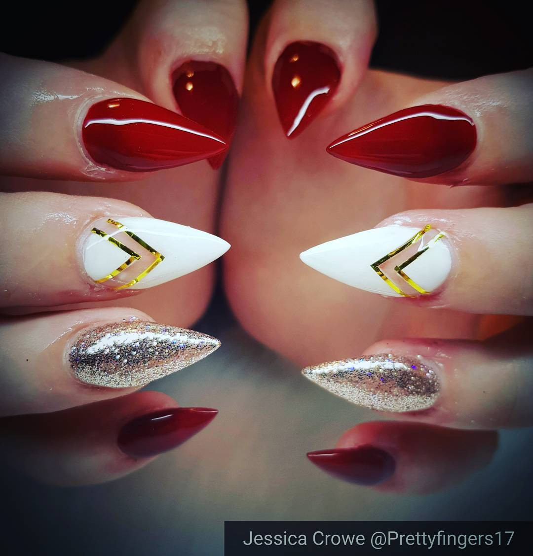 Blood Red Pointy Gel Nails With White And Silver Pic By Jesscrowe91