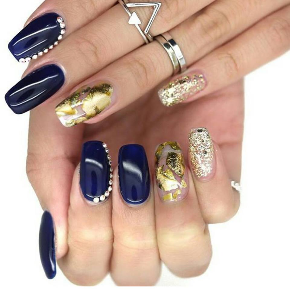 Blue And Gold Nails Blurmark
