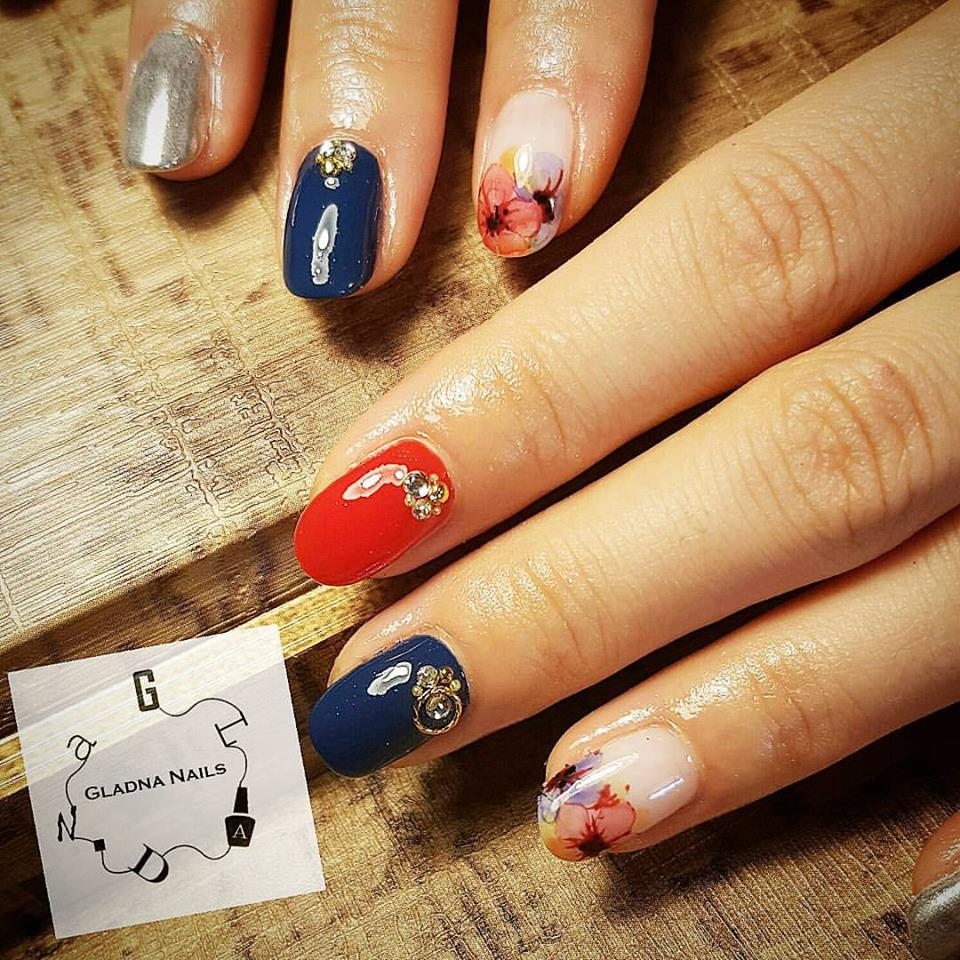 Blue And Red Floral Nails