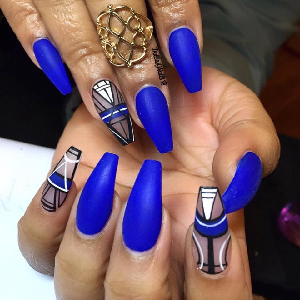 Blue Matte Nails - Blurmark