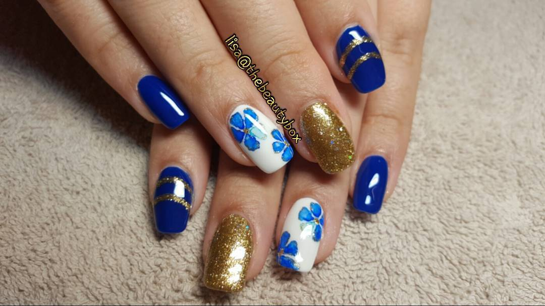 Blue With Golden Sharpie Nails